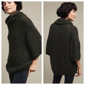 Green Anthro Cozy Waffle Knit Sweater Tunic